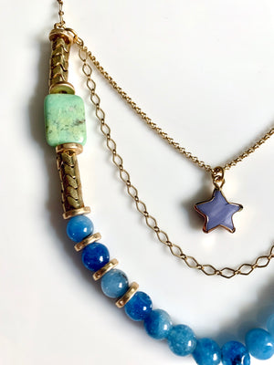 Starbright Chain & Stone Layered Necklace