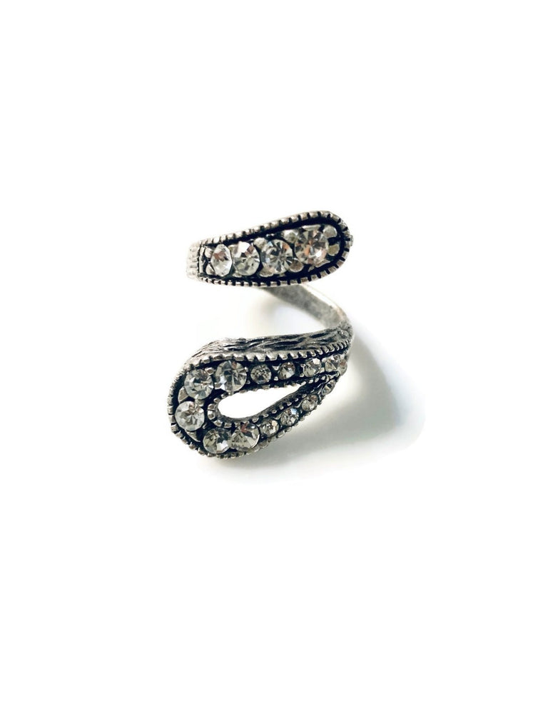 Silver Paved Rhinestone Wrap Adjustable Ring