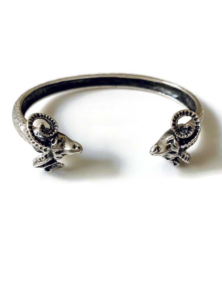 Silver Metal Ram Adjustable Cuff