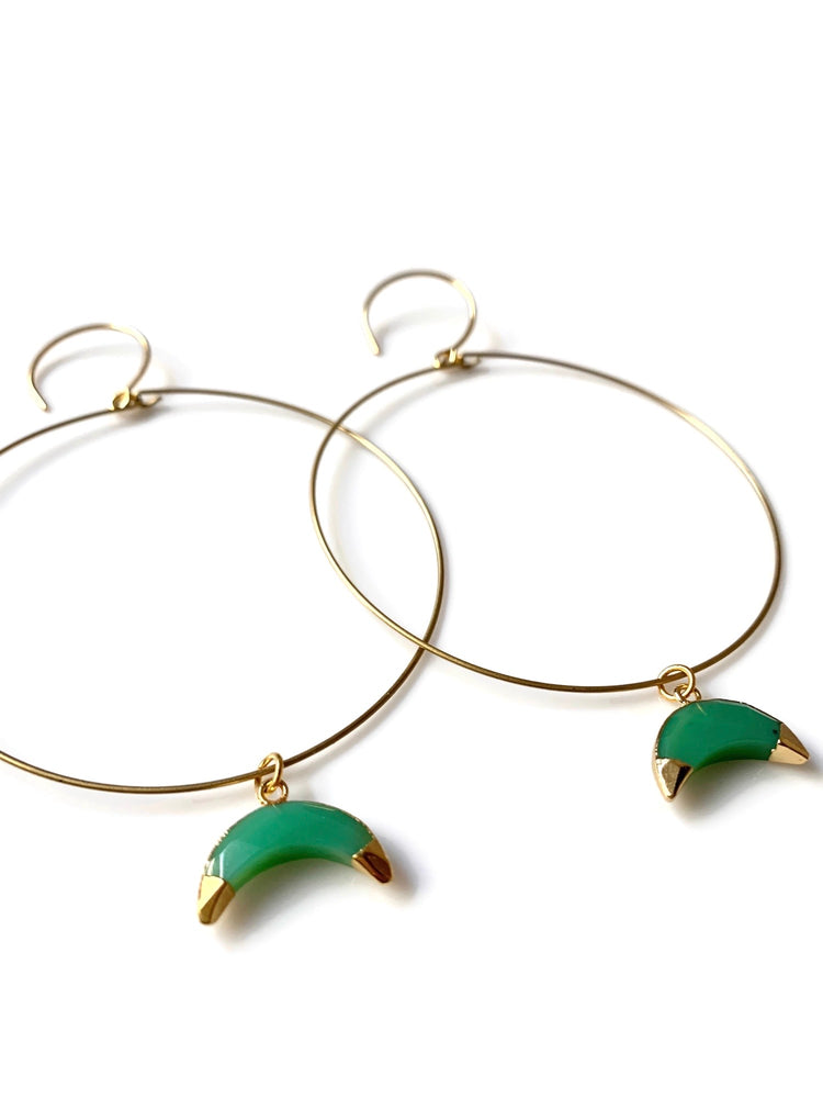 Moon Lover Hoop Earrings - Green Chalcedony