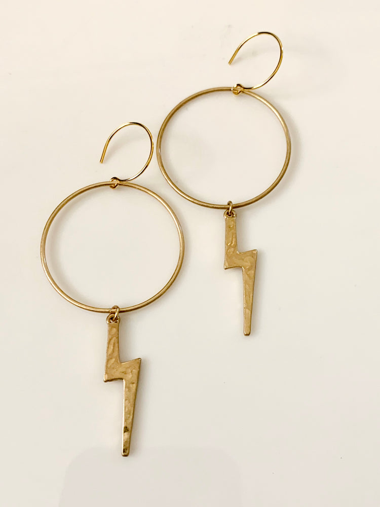 Gold lightening Bolt Hoop Earrings