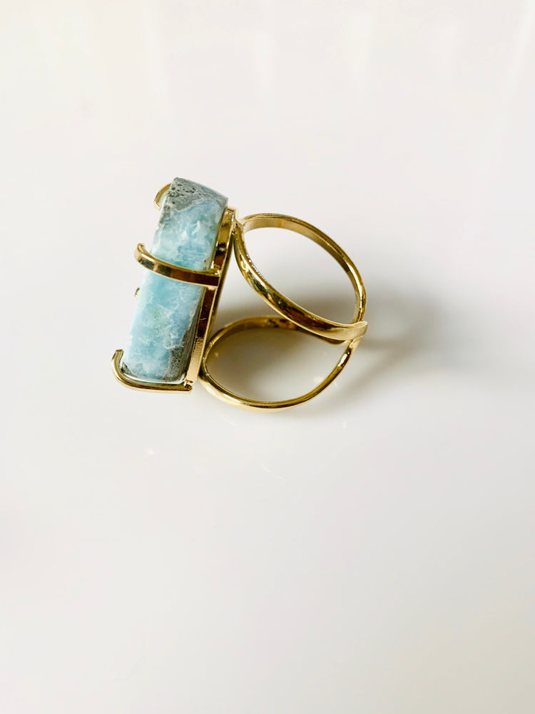 Larimar Crystal Gold Adjustable Ring
