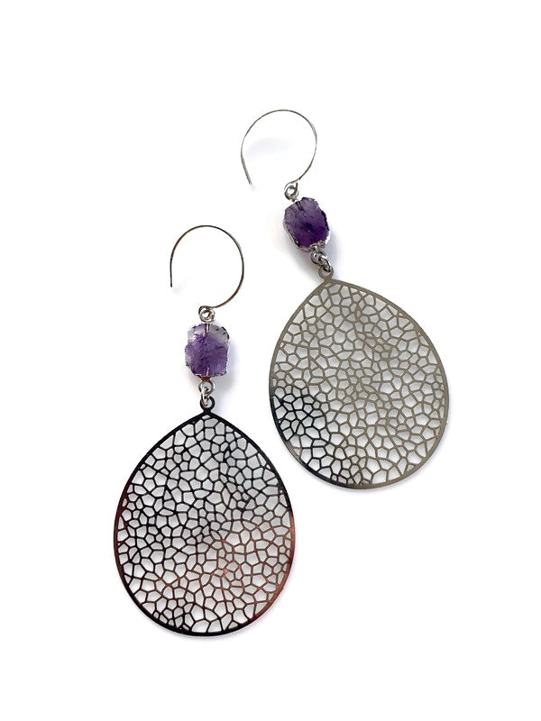 Silver Woven Amethyst Earrings