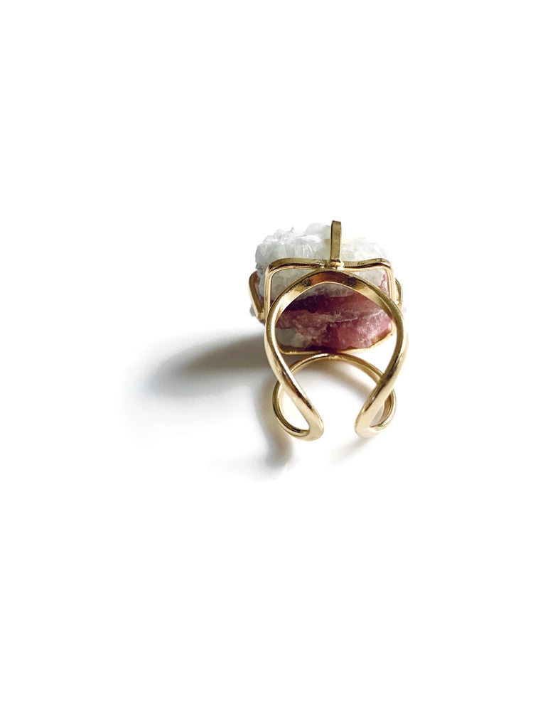 Pink Tourmaline Gold Adjustable Ring