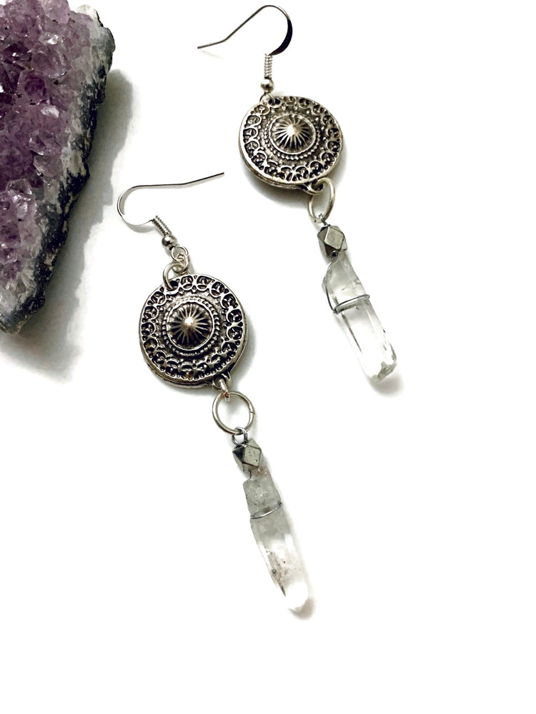 Tribal Circle Quartz Earrings