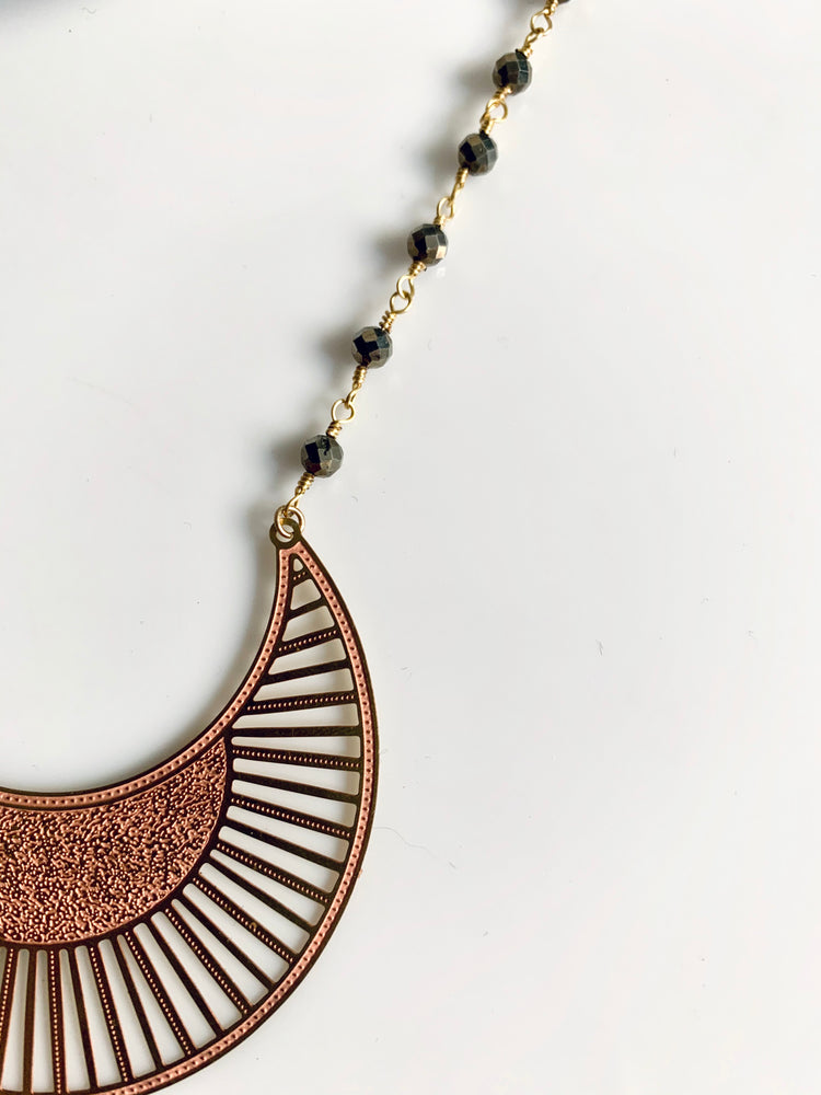 Crescent Moon Pyrite Linked Necklace