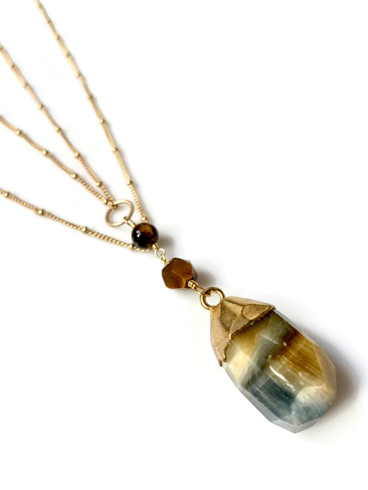 Blue Tiger Eye Double Layer Necklace