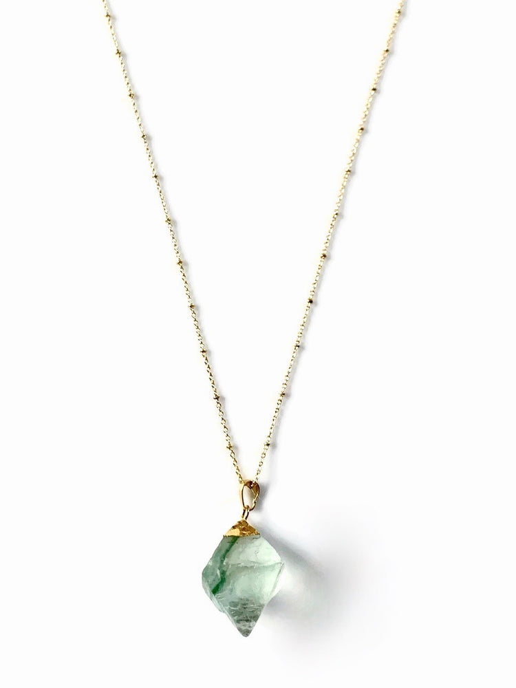 18k Gold Fluorite Crystal Cube Necklace
