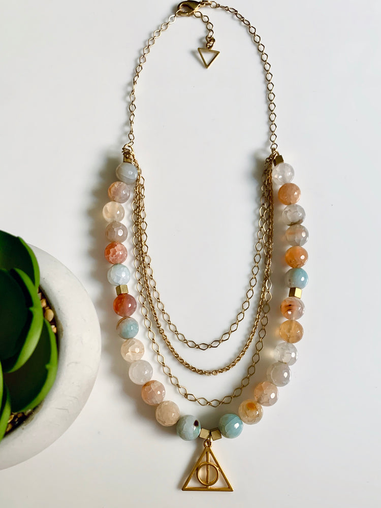 The Truth Amazonite Beaded Layered Chain Necklace