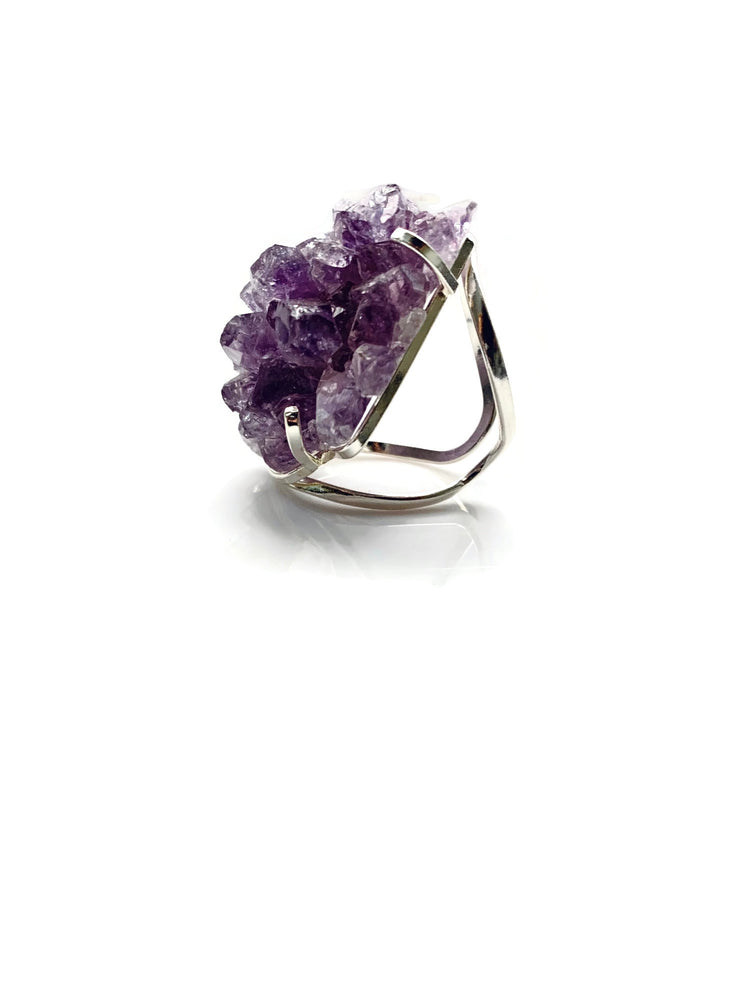 Purple Amethyst Stalactite Silver Adjustable Ring