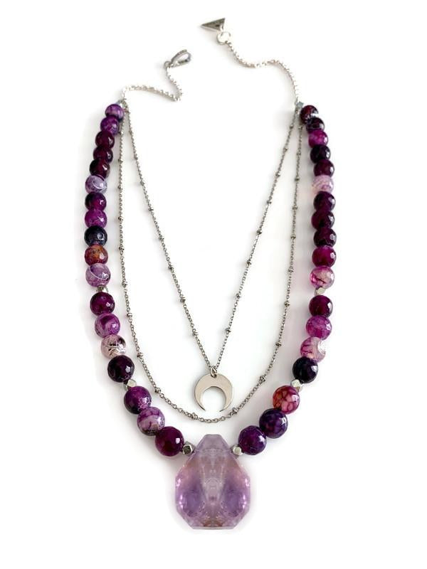Purple Amethyst & Agate Stone Layered Necklace