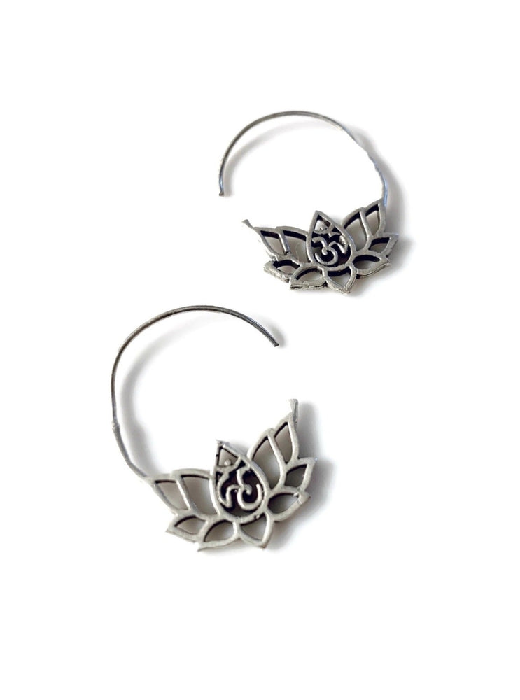 Small Silver Lotus Flower Earrings