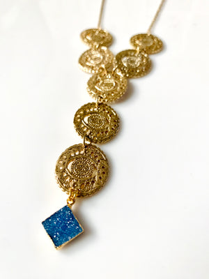 Gold Eye Linked Druzy Necklace