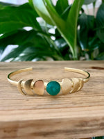 Green Onyx Moon Phase Cuff Bracelet