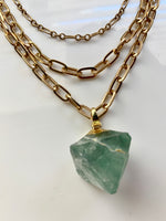 Load image into Gallery viewer, Fluorite Gold Three Layer Chain Necklace