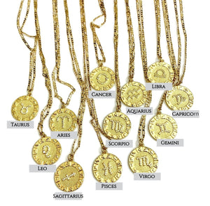 Zodiac Charm 14k Gold Necklace - Select your sign