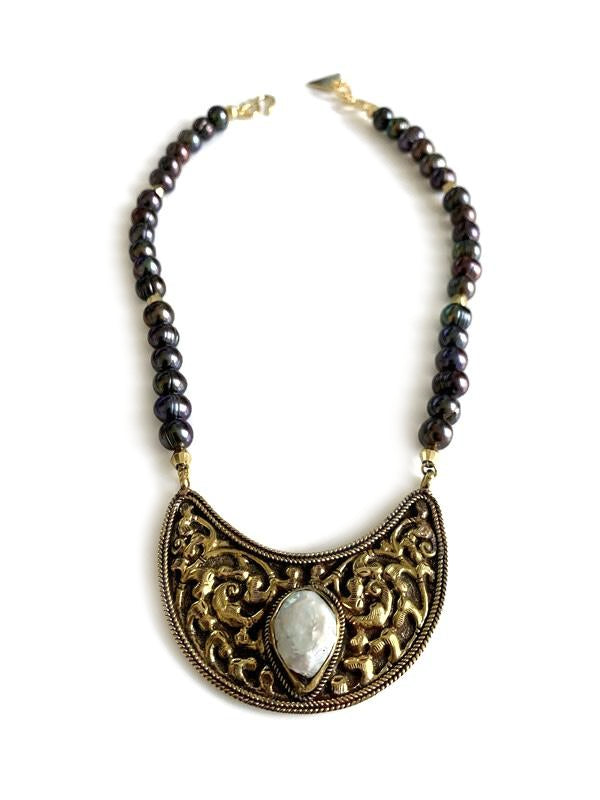Fresh Water Pearl Brass Bohemian Necklace