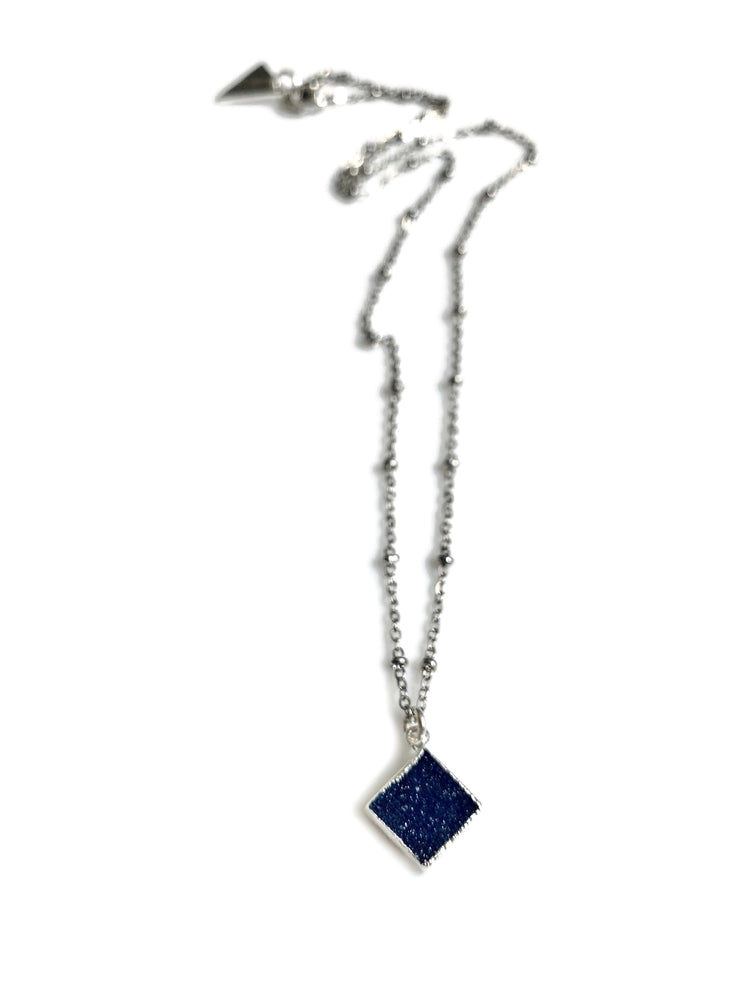 Small Blue Druzy Crystal Silver Necklace