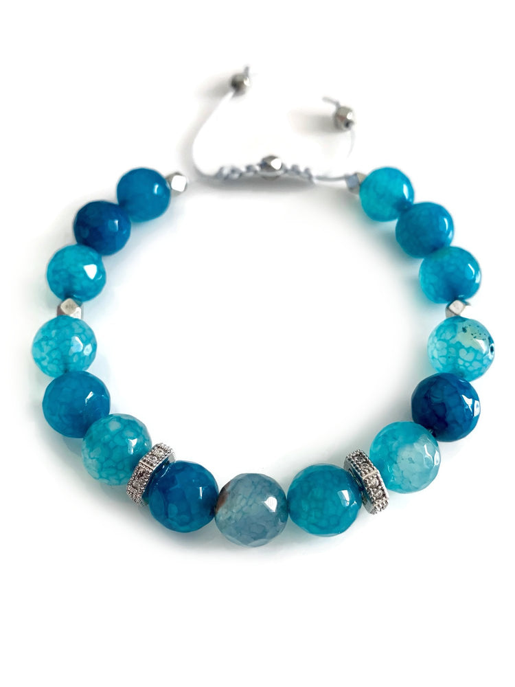 Signature Slider Bracelet - Silver/Sea Blue Agate