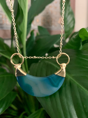Blue Crescent Agate Necklace