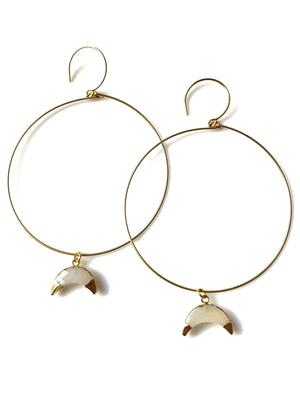 Moon Lover Hoop Earrings - Mystic Chalcedony