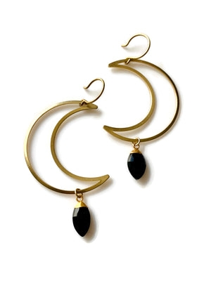 To The Moon Earrings - Black Onyx
