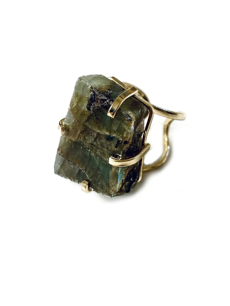Labradorite Crystal Gold Adjustable Ring