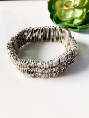 Silver Metal Stretch Bracelet