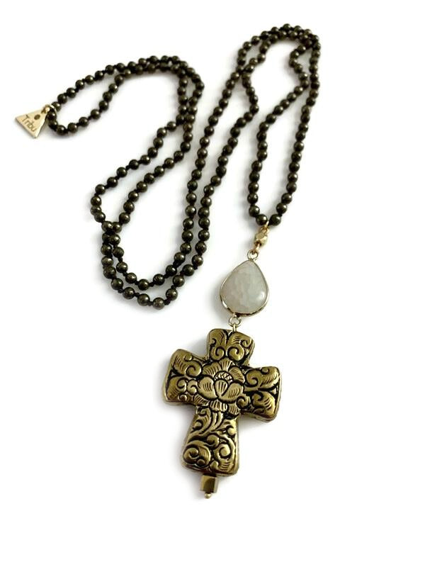 Pyrite Knotted Long Cross Necklace