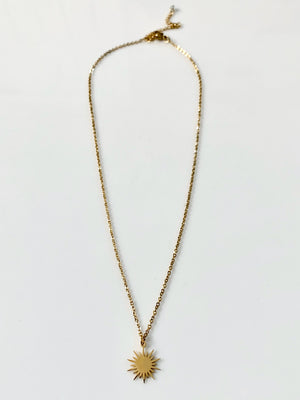 Dainty Gold Sunburst Necklace