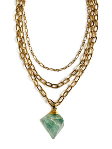 Fluorite Gold Three Layer Chain Necklace