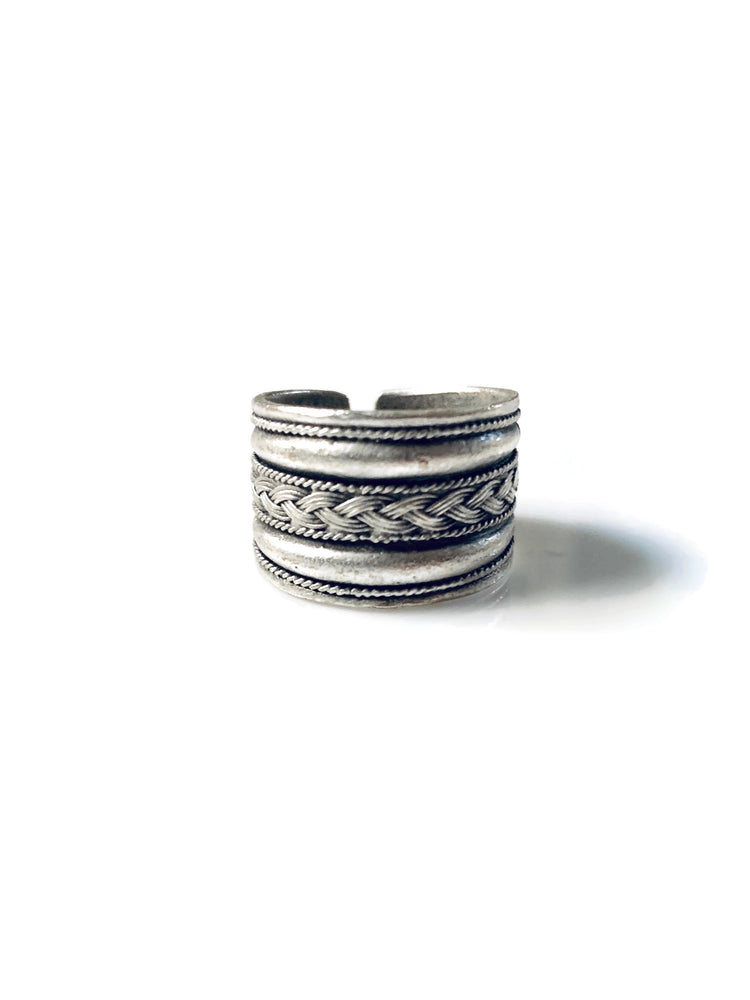 Silver Tribal Band Adjustable Ring