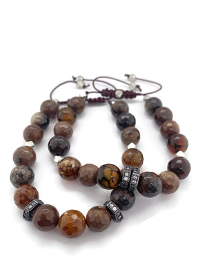 Signature Slider Bracelet - Brown Agate