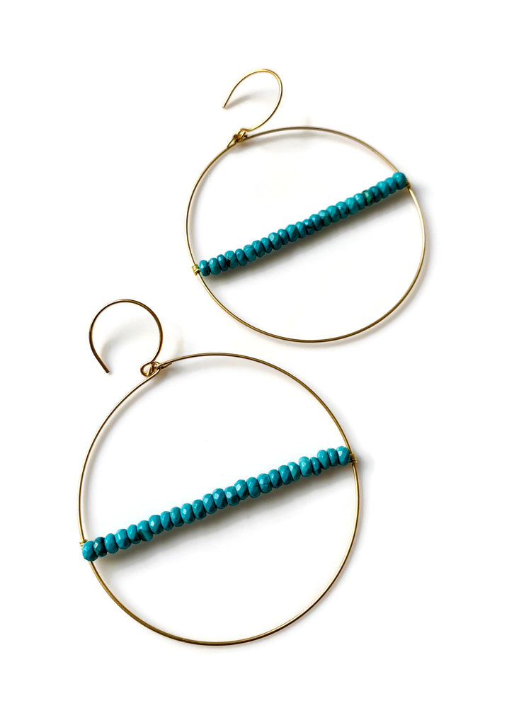 Orbit Turquoise Beaded Hoop Earrings