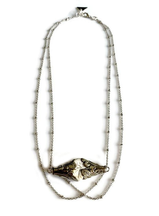 Boho Silver Capped Conch Shell Necklace
