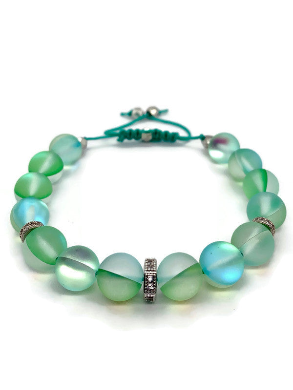 Green Mystic Quartz Slider Bracelet - Gold or Silver