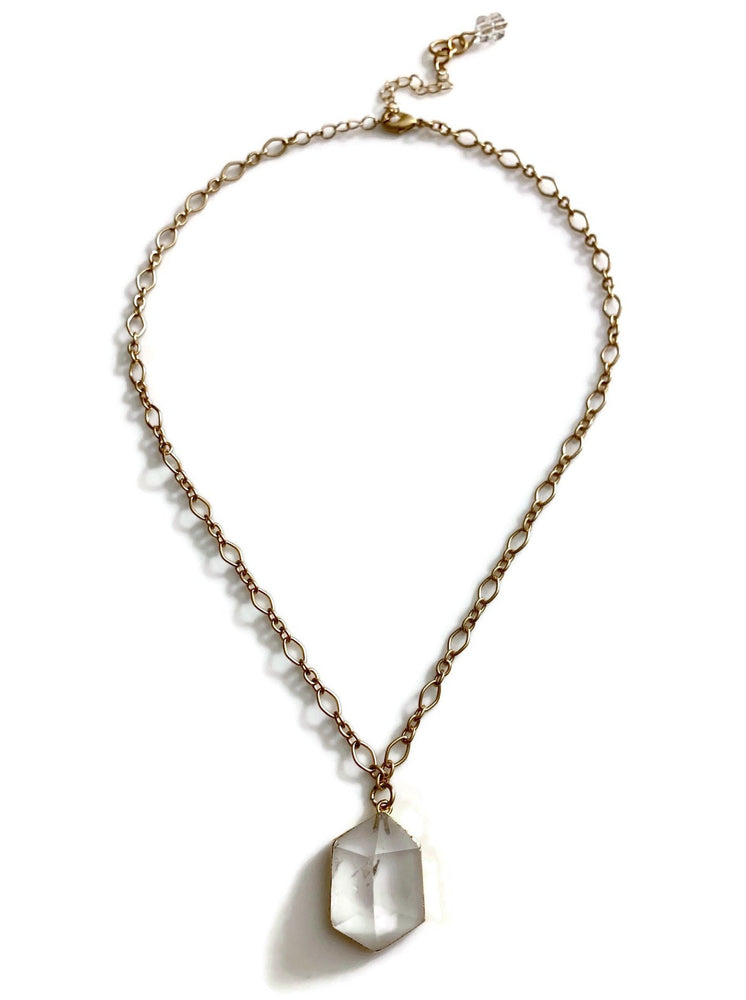 Gold Clear Crystal Pyramid Necklace