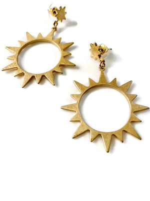 Gold Starburst Post Earrings