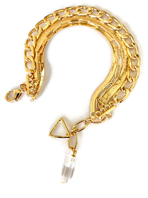 Gold Chain Layered Bracelet with Crystal Charm