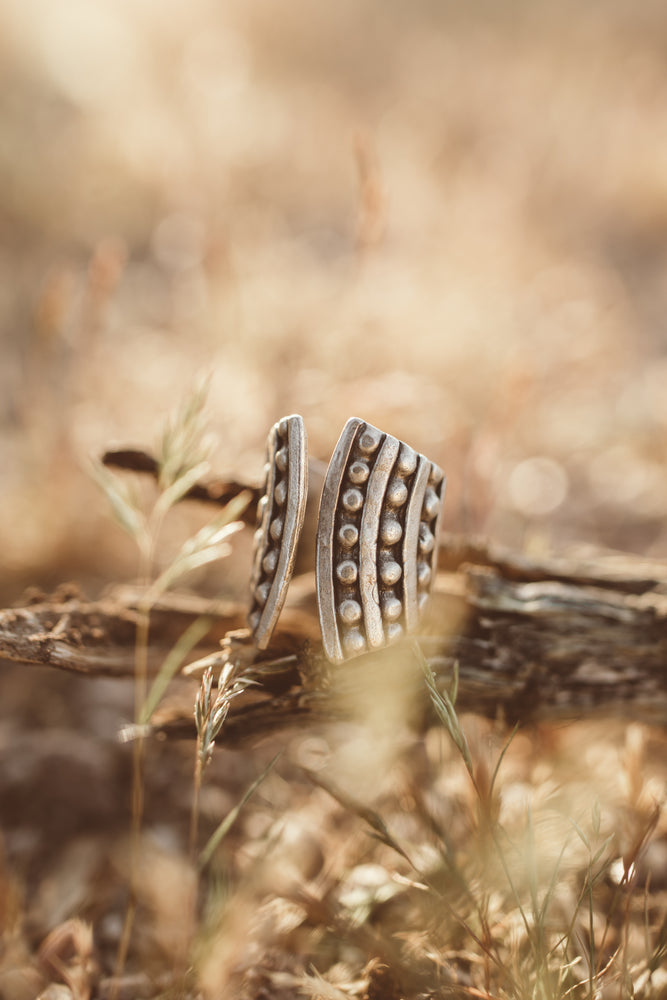 Silver Dotted Tribal Adjustable Ring