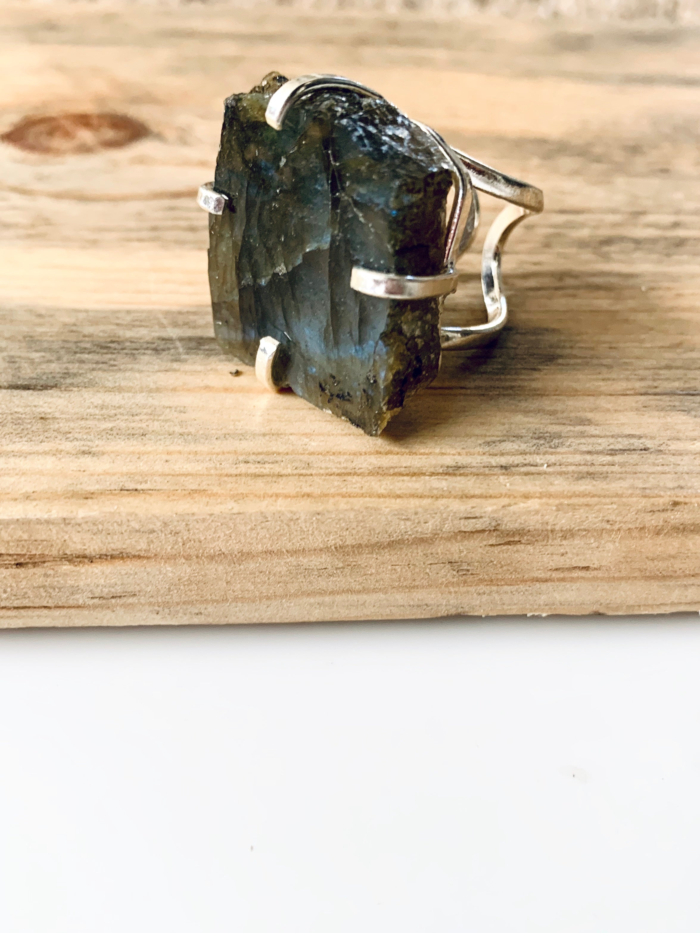 Labradorite Crystal Silver Adjustable Ring