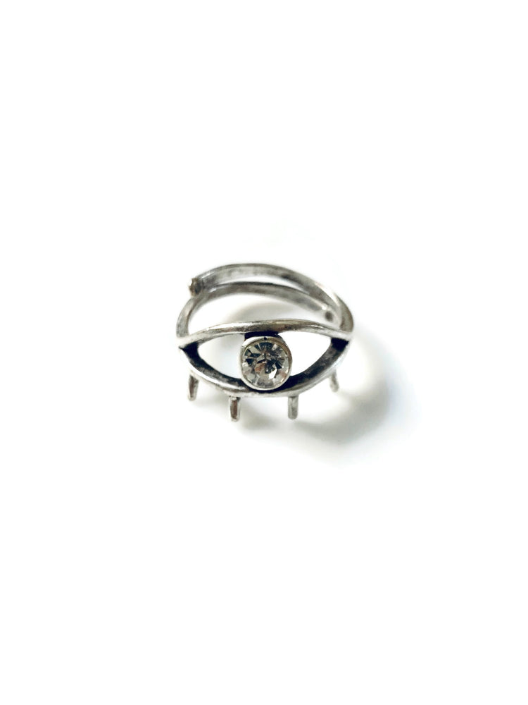 Silver Eye Adjustable Ring