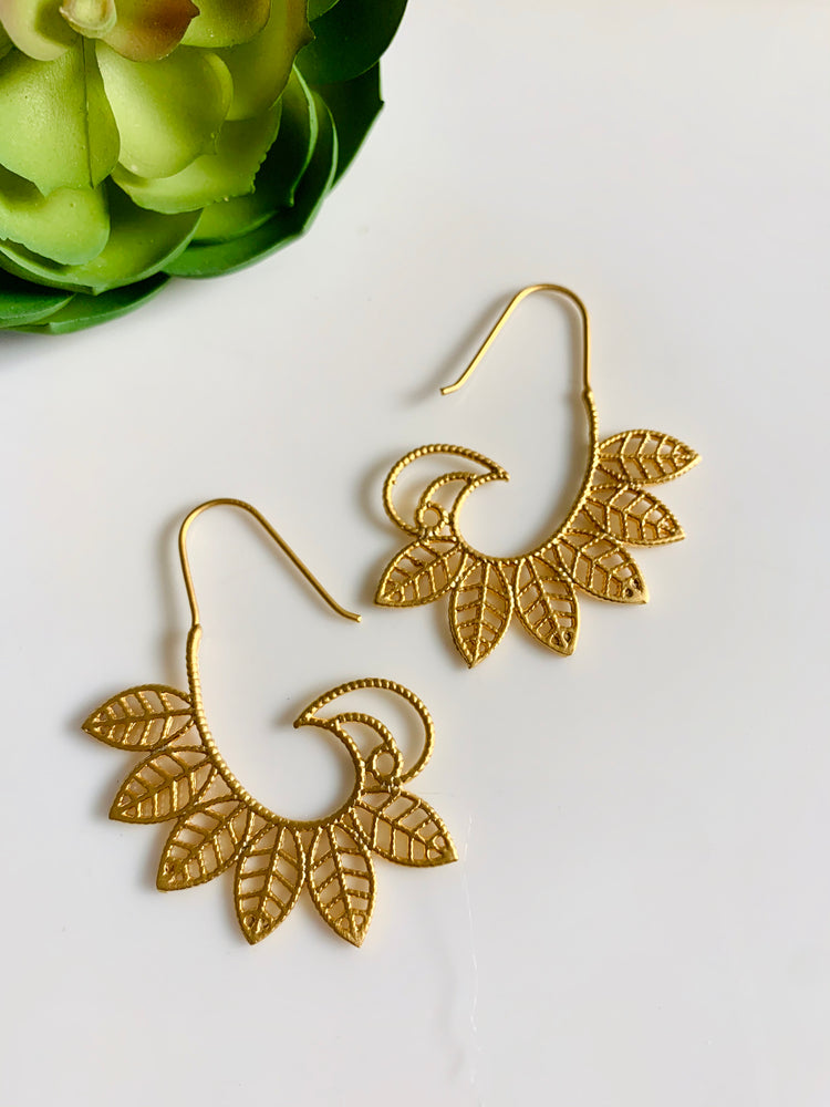 Gold Leaf Wings Earrings