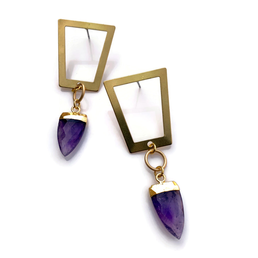 Trapeze Amethyst Dagger Earrings