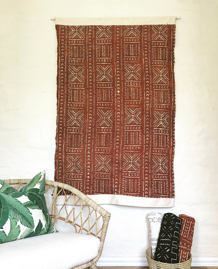 Bogolanfini Mud Cloth Wall Hanging - Rust with White