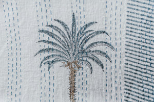 Blue/Grey Palm Hand Block Printed Kantha Quilt