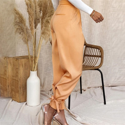 Pantalon Satin Couleur Orange.