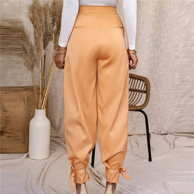 Pantalon Satin Tissu Orange.