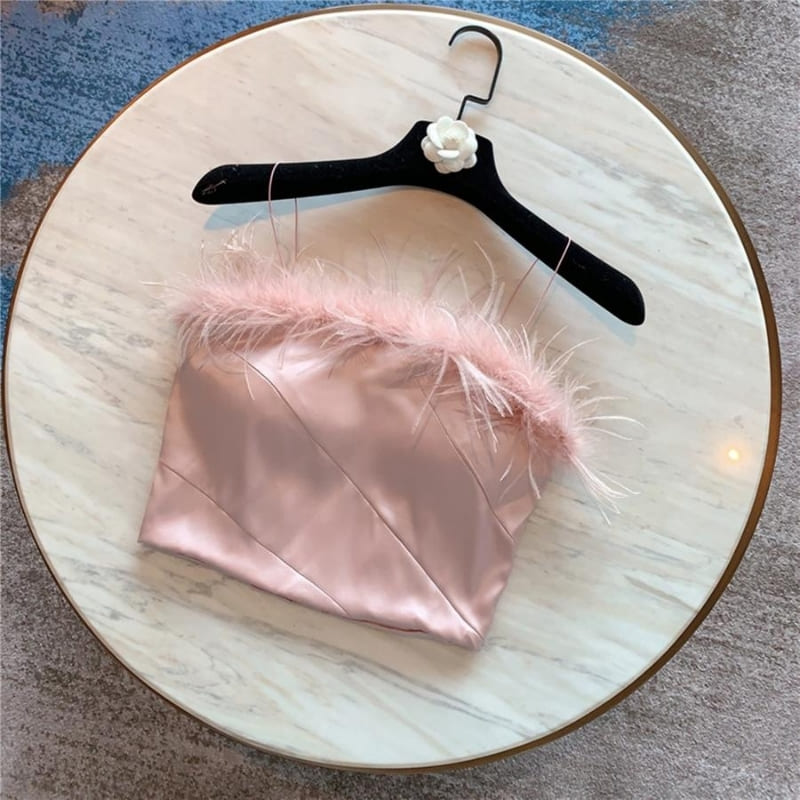 Crop Top Satin Bustier À Plumes