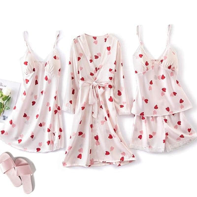 Ensemble Pyjama Satin Rose Coeur.